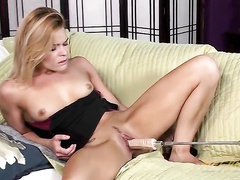 Milf pussy is all wet for a dildo machine
